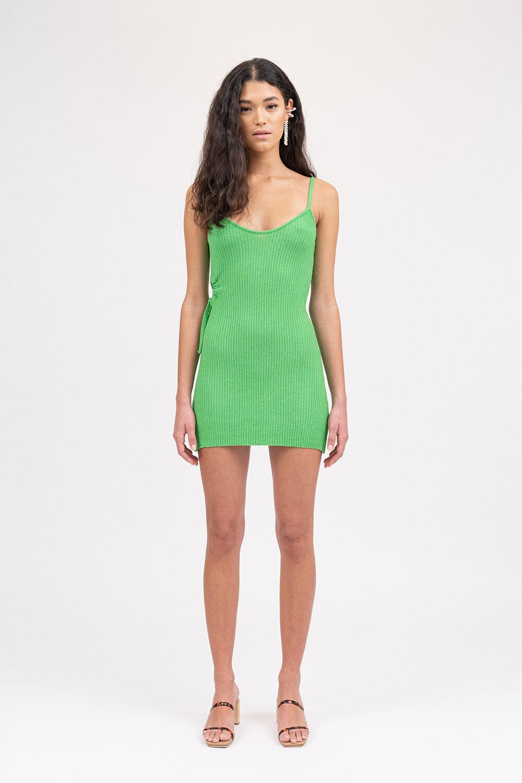 Illusion Knit Mini Dress Apple Green - Sentiment Brand