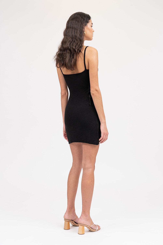 Illusion Knit Mini Dress Black - Sentiment Brand