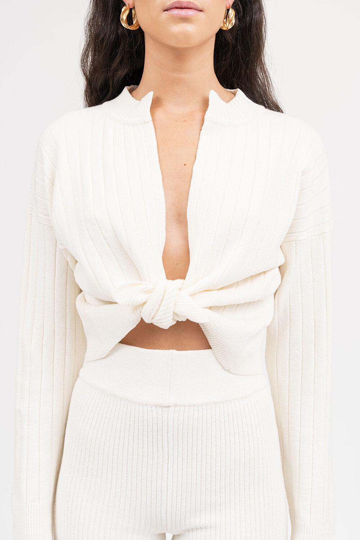 Sensation Long Sleeve Knit Top Cream - Sentiment Brand