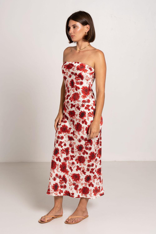 Oasis Tube Dress Ruby Floral - Sentiment Brand