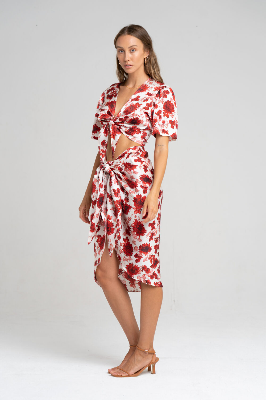 Savannah Sarong Skirt Ruby Floral - Sentiment Brand