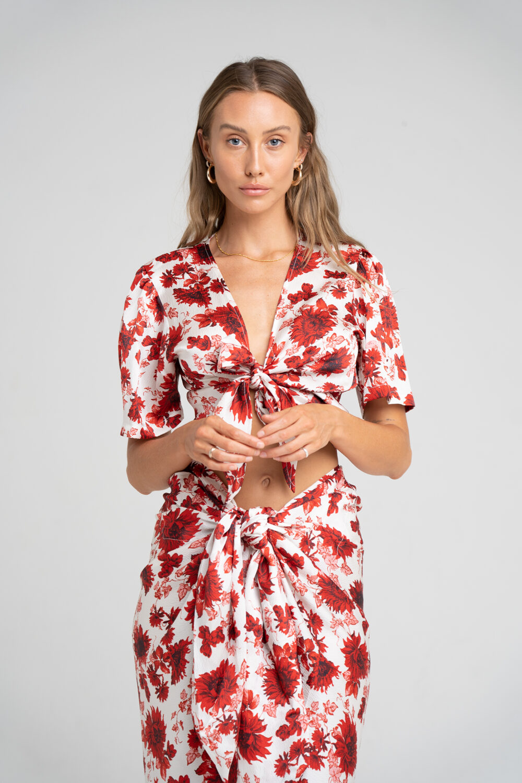 Savannah Tie Front Top Ruby Floral - Sentiment Brand
