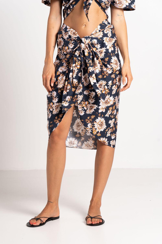 Savannah Sarong Skirt Caramel Floral - Sentiment Brand